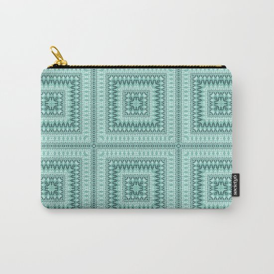 Ornament ethnic square in shades of green . Carry-All Pouch