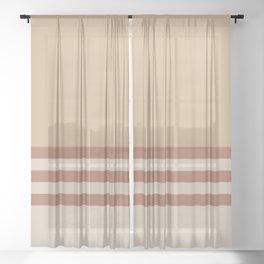 Cavern Clay SW 7701 and Creamy Off White SW7012 Horizontal Stripes on Ligonier Tan SW 7717 Sheer Curtain