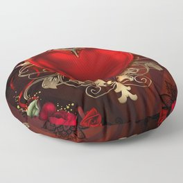 Gothic Red Rose Heart Floor Pillow