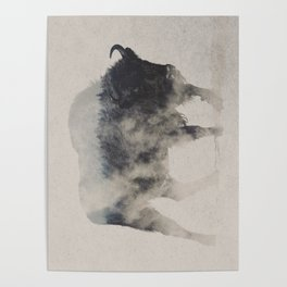 Bison In The Fog Poster