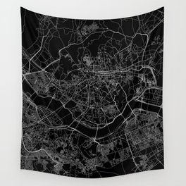 Seoul Black Map Wall Tapestry