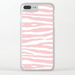 Blush Pink & White Animal Print Clear iPhone Case