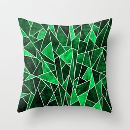 Shattered Emerald Throw Pillow