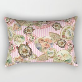 Victorian Romantic  Heart Frames Toss in Vintage Pink + White Striped Paper Rectangular Pillow