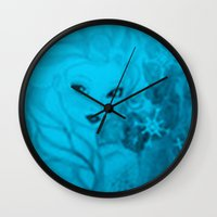 frozen elsa Wall Clocks featuring Frozen Elsa by ALynnArts