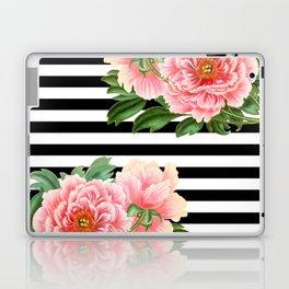Pink Peonies Black Stripes Laptop & iPad Skin