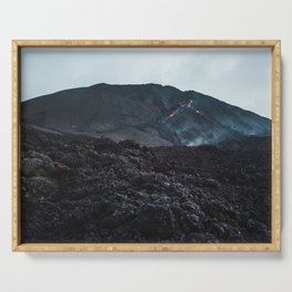 Epic view up the black charred volcanic rock and lava of Pacaya, an active volcano in Guatemala Serving Tray