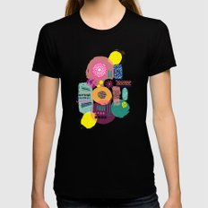 Bright Circles - abstract collage illustration Womens Fitted Tee Black LARGE