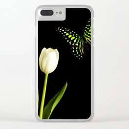 Beautiful butterfly and white tulip flower Clear iPhone Case