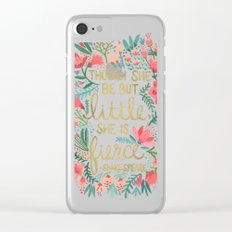 Little & Fierce on Charcoal Clear iPhone Case