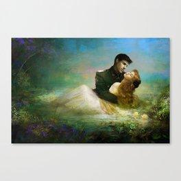 Love me tender - Sad couple in loving embrase in the lake Canvas Print