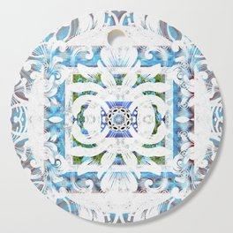 Peaceful Spanish Rococo Boho Sacred Geometry Stamp Print Cutting Board