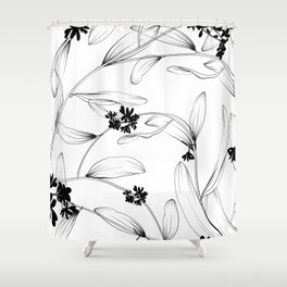 Black and white flora Shower Curtain