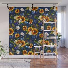 Modern yellow orange blue watercolor sunflower floral pattern Wall Mural