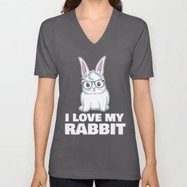 I Love My Rabbit Cute Glasses Illustration Stylish  Unisex V-Neck
