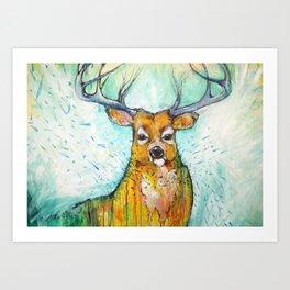 Deer in the Rain Art Print