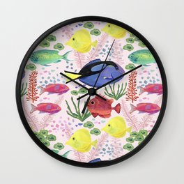 Reef Fish (pink background) Wall Clock