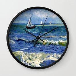 Vincent van Gogh Seascape near Les Saintes-Maries-de-la-Mer Wall Clock
