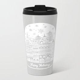 Linocut White Holidays Metal Travel Mug