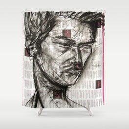 Warrior - Charcoal on Newspaper Figure Drawing Shower Curtain