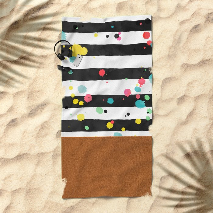 Watercolor splatters with brown leather Beach Towel