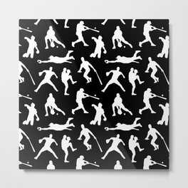 Baseball Players // Black Metal Print