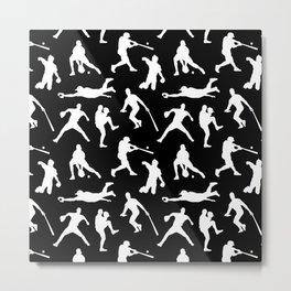 Baseball Players // Black Metal Print