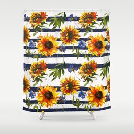 Stripes and Sunflowers Shower Curtain