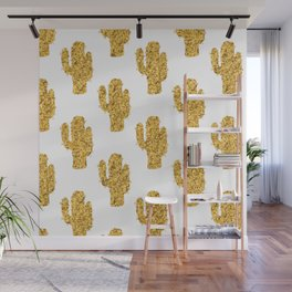 Cactus | Rustic Gold | Southwest Decor Pattern Wall Mural