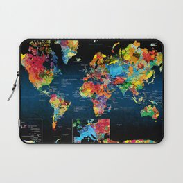 World Map Black - 2 Laptop Sleeve