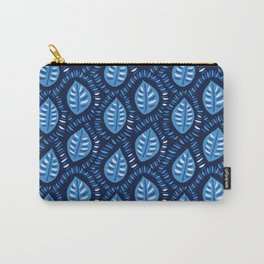 Beautiful Decorative Blue Leaves Pattern Carry-All Pouch