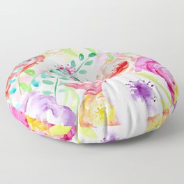 Watercolor Vibrant Flowers Red and Purple Floor Pillow
