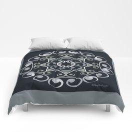 Grace Mandala - Gray Black Comforters