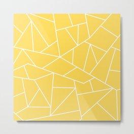 White Mosaic Lines On Mustard Yellow Metal Print