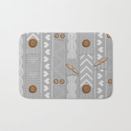 Scarves Knitted Buttoned - Gray Bath Mat