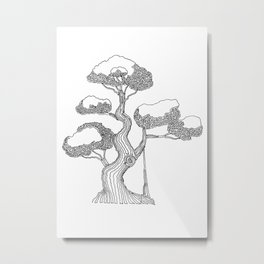 Bonsai 2, One Line Drawing. Metal Print