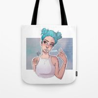 laia Tote Bags featuring electric blue by Laia™
