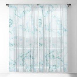 Aqua marine and white faux marble Sheer Curtain