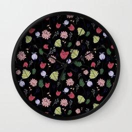 Dark Floral Wall Clock