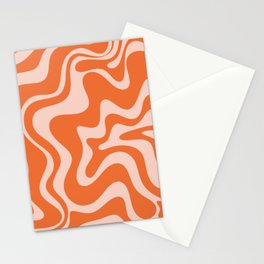 Retro Liquid Swirl Abstract Pattern in Orange and Pale Blush Pink Stationery Cards
