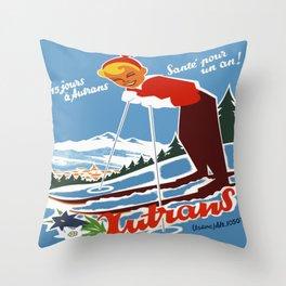 Vintage Autrans France Ski Travel Throw Pillow