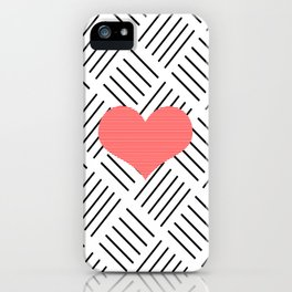 Red heart - Abstract geometric pattern - black and white. iPhone Case