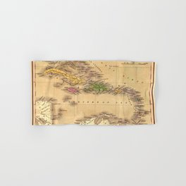 Map Of The Caribbean 1828 Hand & Bath Towel