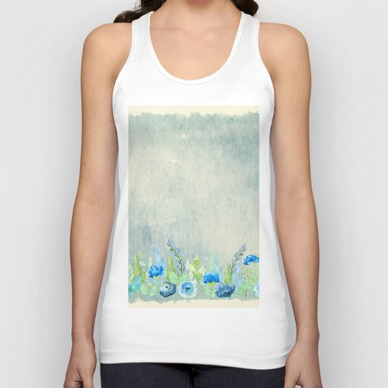 Blue flowers and roses in a meadow- Floral watercolor illustration Unisex Tank Top