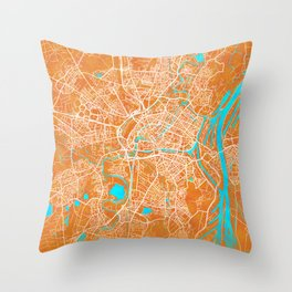 Strasbourg, France, Gold, Blue, City, Map Throw Pillow