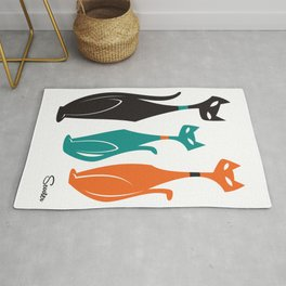 Sexton Cats by Art of Scooter Mid Century Modern inspired art and merchandise Rug