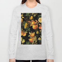 Vintage & Shabby Chic - Midnight Golden Apples Garden Long Sleeve T-shirt
