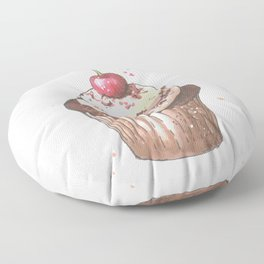 Delicious cupcake with cherry on top Floor Pillow
