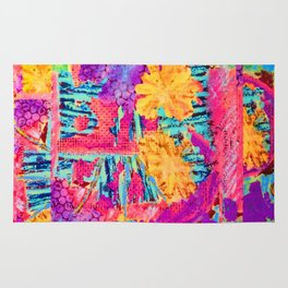 floral collagraph print Rug
