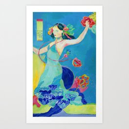 Blue Tibetan Poppy Goddess Art Print